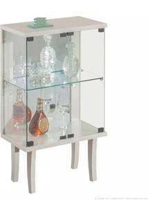 Cristaleira 2 Portas De Vidro E Com Espelho Cantina 100% Mdf Branco - Móveis Forini
