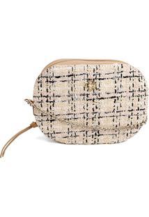 Bolsa Capodarte Mini Bag Transversal Tweed Feminina - Feminino-Rosa