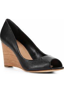 Peep Toe Couro Shoestock Anabela - Feminino-Preto