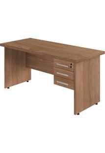 Mesa Para Escritório 3 Gavetas Ornare Plata Móveis Amendoa