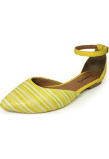 Sapatilha Bico Fino Luiza Sobreira Listras Amarelo/Branco Mod. 2154