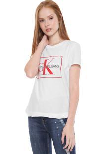 Camiseta Calvin Klein Jeans Logo Mullet Branca