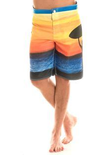 Bermuda Konciny Surf Colorido Amarelo
