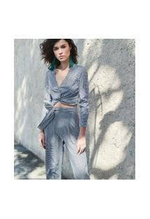 Camisa Xadrez Vichy Com Nó   Blue Steel   Cinza   M
