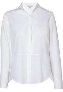 Camisa Dudalina Manga Longa Tricoline Maquinetado Folhas Feminina (Branco, 42)