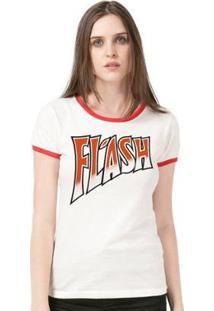 Camiseta Ringer Feminina Queen Flash - Feminino-Branco