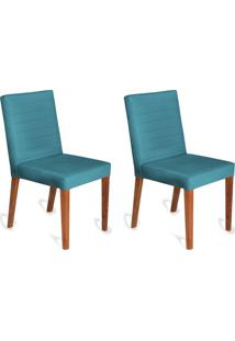 Conjunto Com 2 Cadeiras Dóris Veludo Azul