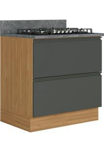 Balcão De Cozinha Para Cooktop Inova 1 Pt 1 Gv Grafite Cinzel E Freijó