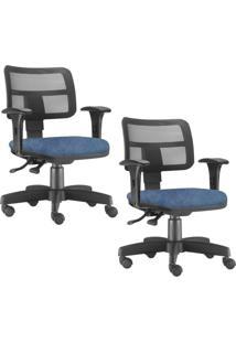 Kit 02 Cadeiras Giratã³Rias Lyam Decor Zip Azul - Azul - Dafiti