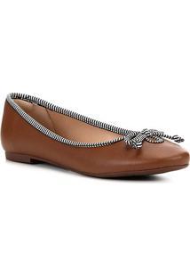 Sapatilha Shoestock Laço Gorgurão Feminina - Feminino-Caramelo