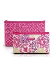 Kit 2 Necessaire Com Ziper Ahl17279 Jacki Design Pink