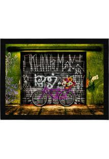Capacho - Tapete Colours Creative Photo Decor - Bicicleta Bike Pink Verde