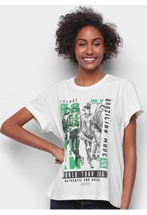 Camiseta Colcci Rock Revolution Feminina - Feminino-Branco