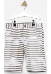 Bermuda Listrada Em Sarja- Off White & Bege Escuro- Look Jeans