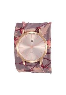 Kit De Relógio Analógico Mondaine Flower Power Feminino + Pulseira - 32024Lpmgrd1K Rosê