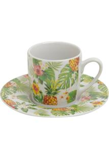 Conjunto 6 Xícaras Porcelana Para Café Com Pires Pineapple Party 90Ml