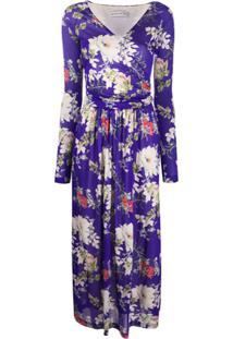 Etro Vestido Midi Com Estampa Floral - Azul