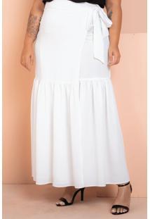 Saia Longa Transpassada Babado Branco Plus Size