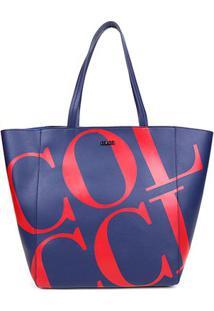 Bolsa Colcci Shopper Maxi Logo Feminina - Feminino-Marinho