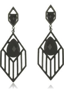 Brinco Le Diamond Geométrico Cristal Preto - Tricae