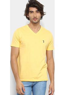 Camiseta Aleatory Bordado Masculina - Masculino-Amarelo