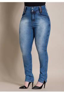 Calça Jeans Cintura Alta Cós Largo