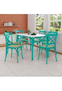 Conjunto De Mesa De Jantar Com 6 Cadeiras E Tampo De Madeira Katrina Azul Turquesa
