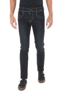 Calça Jeans Sawary Slim Pespontos Azul-Marinho