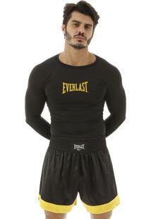 Camiseta M/L Everlast Dry Com Escrito Central Preto