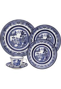 Aparelho De Jantar Oxford Flamingo Blue Willow 30 Peças Porcelana