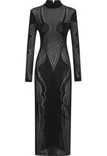 Vestido Longo Transparência - Preto
