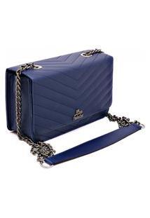 Bolsa Clutch Alça Transversal De Corrente Metalasse Livia Sabatini Azul Marinho