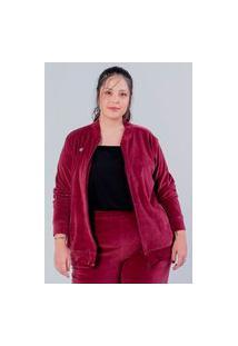 Casaco Amplo Almaria Plus Size Miss Taylor Plush Vinho