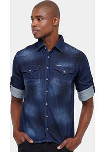 Camisa Jeans Zune Indigo Estonada Masculina - Masculino