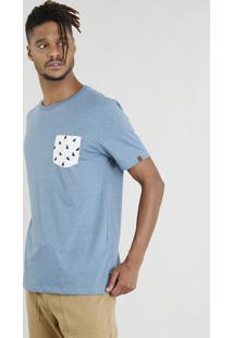 Camiseta Masculina Com Bolso Estampado De Tubarões Manga Curta Gola Careca Azul
