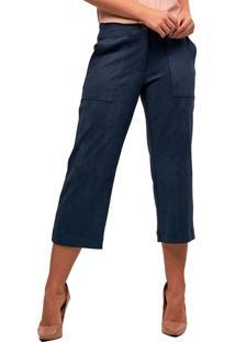 28e1641981 ... Calça Pantacourt Mx Fashion Suede Netuno Azul Marinho