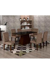 Conjunto De Mesa De Jantar Luna Com 6 Cadeiras Ane I Suede Animalle Castor, Preto E Chocolate