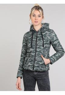 Jaqueta Feminina Puffer Estampada Camuflada Com Gorro Verde Militar