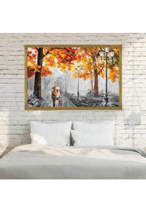 Quadro Love Decor Com Moldura Outono Chuvoso Dourado Mã©Dio - Multicolorido - Dafiti
