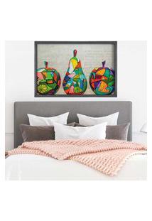 Quadro Love Decor Com Moldura Frutas Em Pop Art Grafitti Metalizado Médio