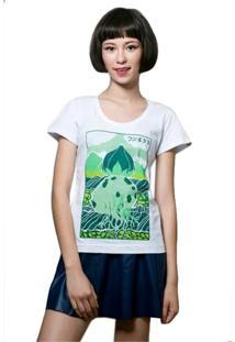 Camiseta Feminina Bulbasaur Geek10 - Branco