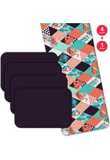 Jogo Americano Love Decor Com Caminho De Mesa Wevans Flamant Abstract Kit Com 4 Pçs + 1 Trilho