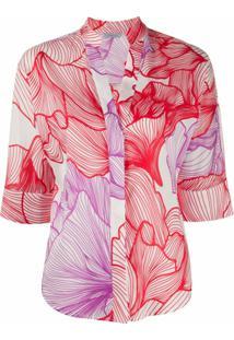 Malo Blusa Com Estampa Floral - Vermelho