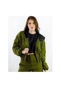 Jaqueta Cropped Toneh Nylon Verde Verde