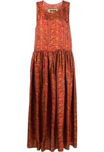 Uma Wang Floral Print Midi Dress - Vermelho