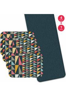 Jogo Americano Love Decor Com Caminho De Mesa Wevans Geometric Color Kit Com 4 Pçs + 1 Trilho