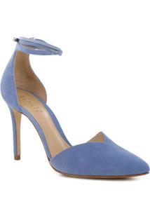 Scarpin Em Couro Com Recorte- Azul & Nude- Salto: 8,Schutz