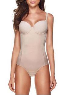 Cinta Modeladora Feminina Body Redutor Afina Cintura Compressão Bojo Liebe - Feminino-Bege
