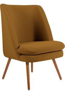 Poltrona Decorativa Fixa Pã©S Palito Pã©Rsia Veludo Mostarda B-260 - Lyam Decor - Amarelo - Dafiti