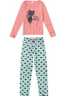 1a13986fbbdd0e Malwee Pijama Longo Estampa Glitter Feminino